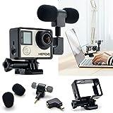 3,5 mm Accessoires MIC stéréo Microphone avec cadre standard et adaptateur pour Caméra Sportive GoPro Hero 4 3 + 3