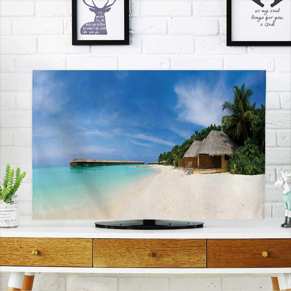 PRUNUS TV dust Cover Panorama of Tropical Beach,Travel Vacation Background TV dust Cover W19 x H30 INCH/TV 32''