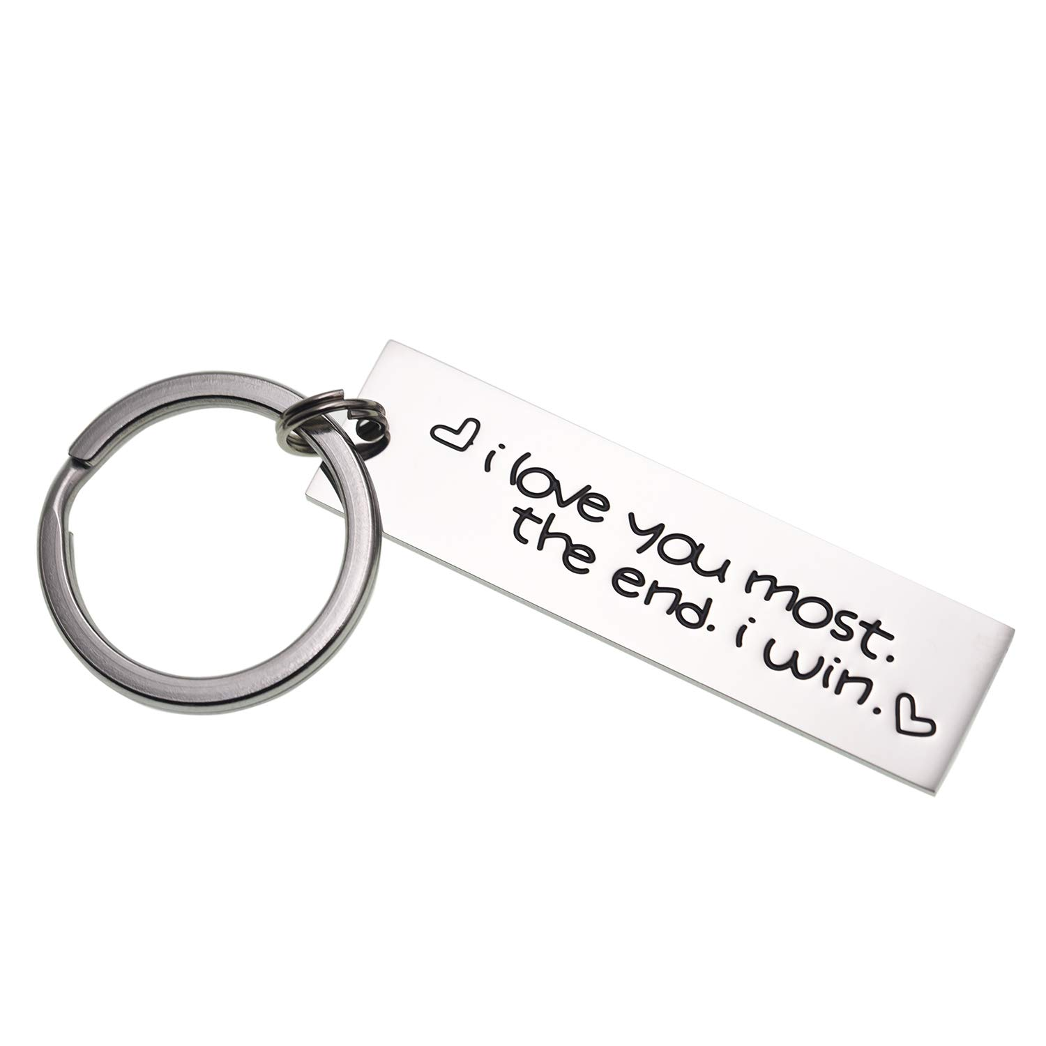 Creative Stainless Steel I Love You More The End I Win Keychain for Couples