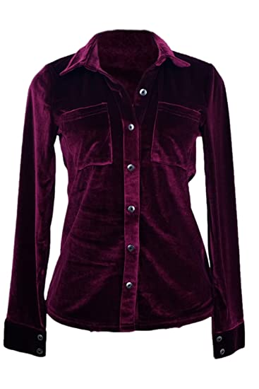 Las Mujeres Casual Camiseta Cuello Solapa Botón De La Blusa De Terciopelo: Amazon.es: Ropa y accesorios