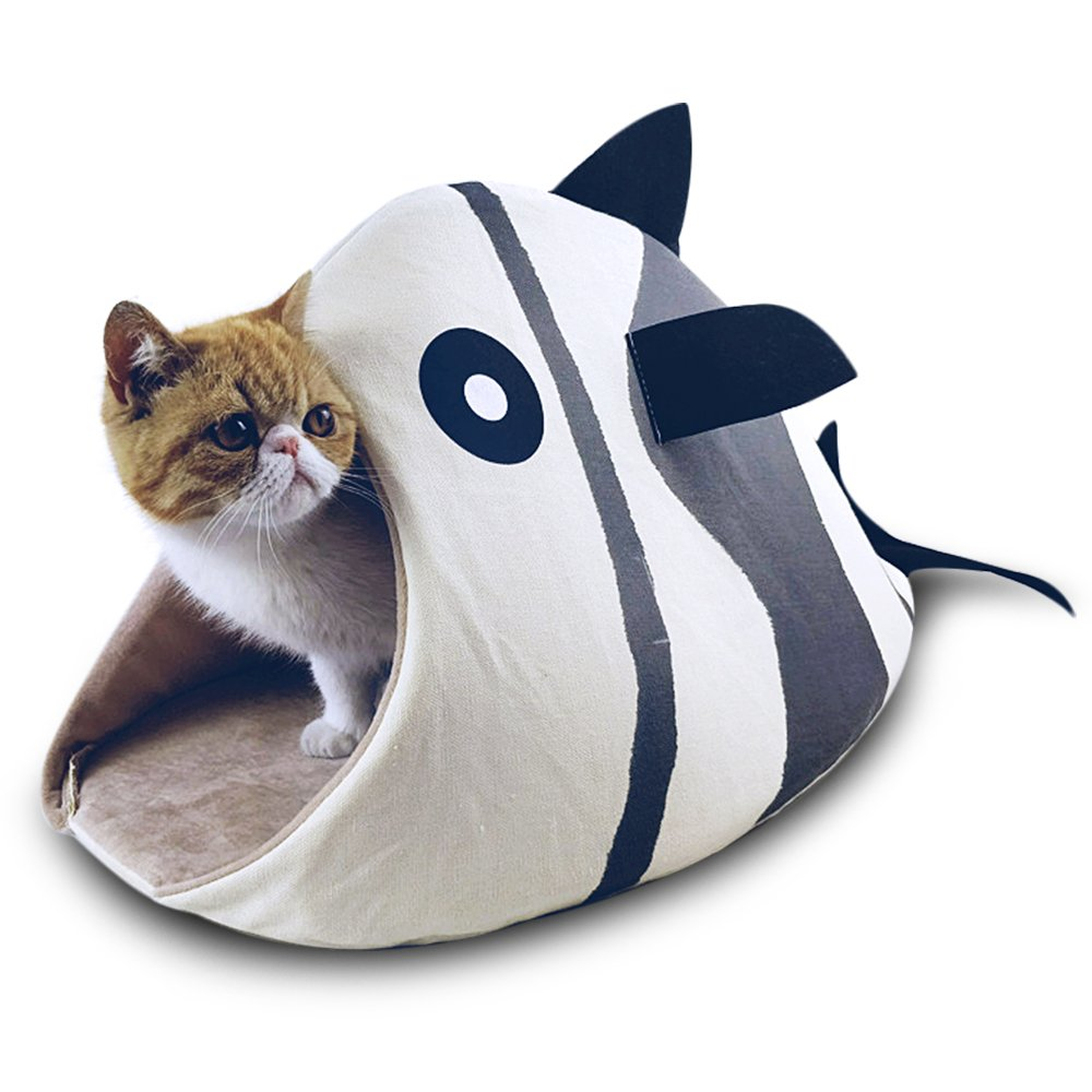 Petgrow Novelty Cat Bed House Decorative Fish Shaped Large Size, Cozy Comfy Pet Bed Cave for Cats Small Dogs, Kitten Puppy Cute Bed Cuddle,Beige by Petgrow (Image #1)