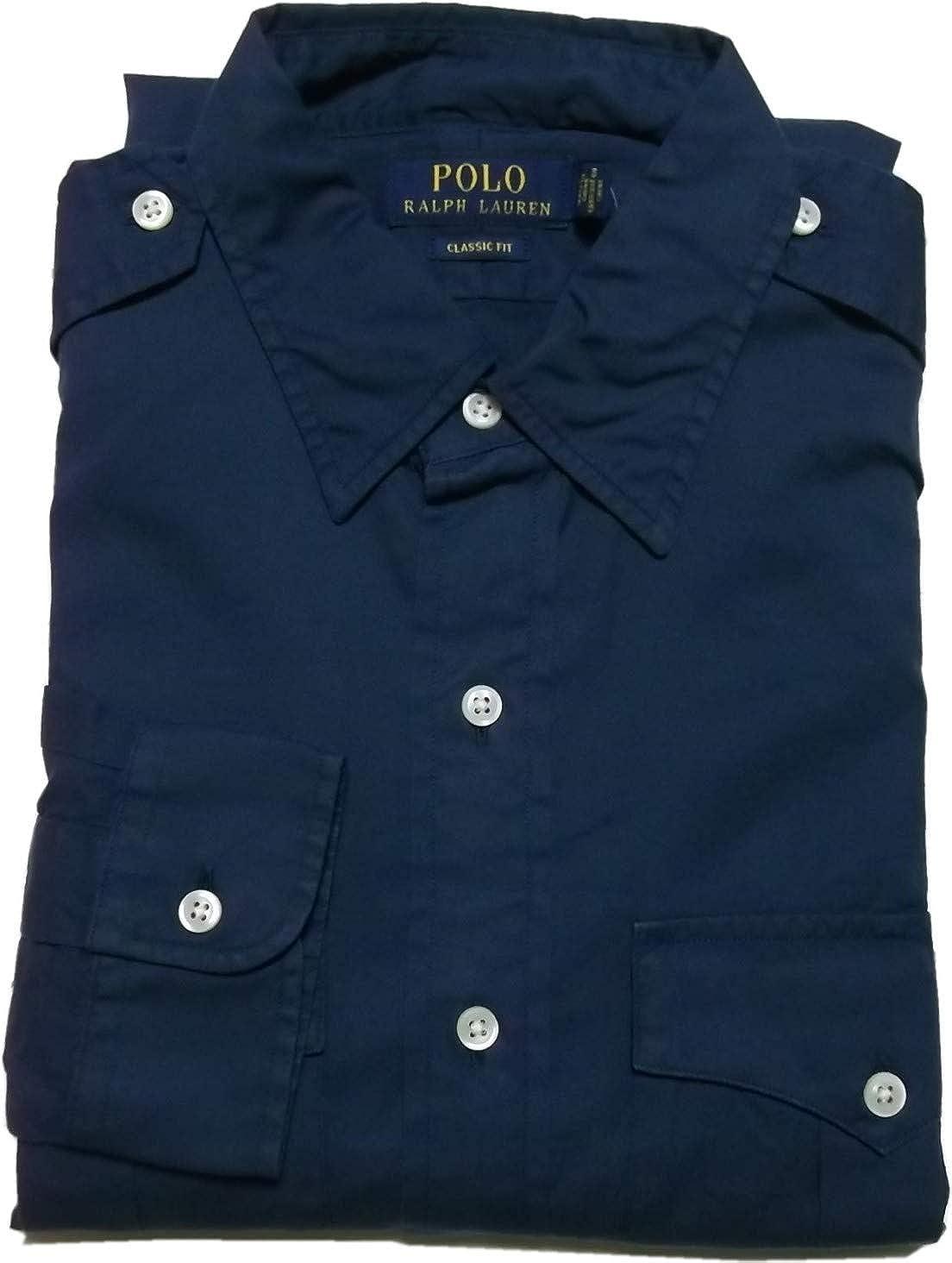 Ralph Lauren Polo Mens Classic Fit Button Down Safari Shirt Navy