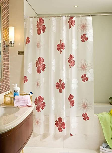 Four Leaf Clover PEVA White Red Shower Curtain Liner 102 Inches Wide By 70