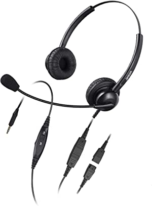 Jaracom 3.5 mm PC Headset with Microphone Noise Cancelling, Volume Control and Mic Mute for Cellphone Tablet PC Computer, Wired Phone Headset for Working from Home Call Center Office Conference