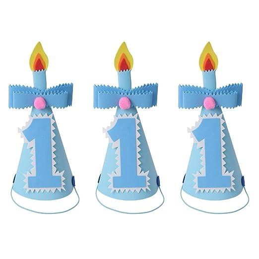 Amosfun - 3 Sombreros de Fiesta de cumpleaños para niños y ...