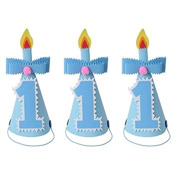 Amosfun 3pcs Primera Fiesta de cumpleaños Cono Sombreros ...
