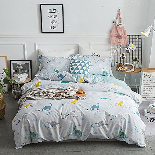 ORoa New Cartoon Dinosaur Blue Twin Cute Duvet Cover Sets for Kids 100% Cotton Reversible Comfortable 3 Pieces Kids Bedding Duvet Cover Pillowcases Child Bedding Sets (Twin, Dinosaur) (Dinosaur Quilt)