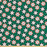 Casino Decorations Fabric by the Yard by Ambesonne, Stylized Poker Chips Pirate Symbols Money Sword Cross Bone Skull Risk , Decorative Fabric for Upholstery and Home Accents