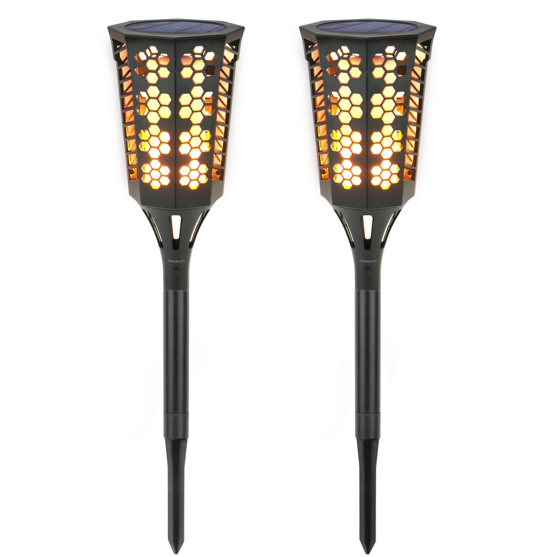 Solar Torch Lights [2PCS], MoKo Waterproof Flame Lighting Lamps 96LED Outdoor Flickering Torches Lantern Light Sensor Solar Spotlight for Garden Landscape Lawn Patio Deck Yard, Auto On/Off - BLACK