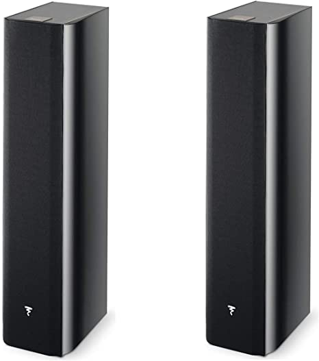 Focal 2 Pack Chorus 716 2.5-Way Bass Reflex Floor Standing Speakers, Black Piano Lacquer, Pair