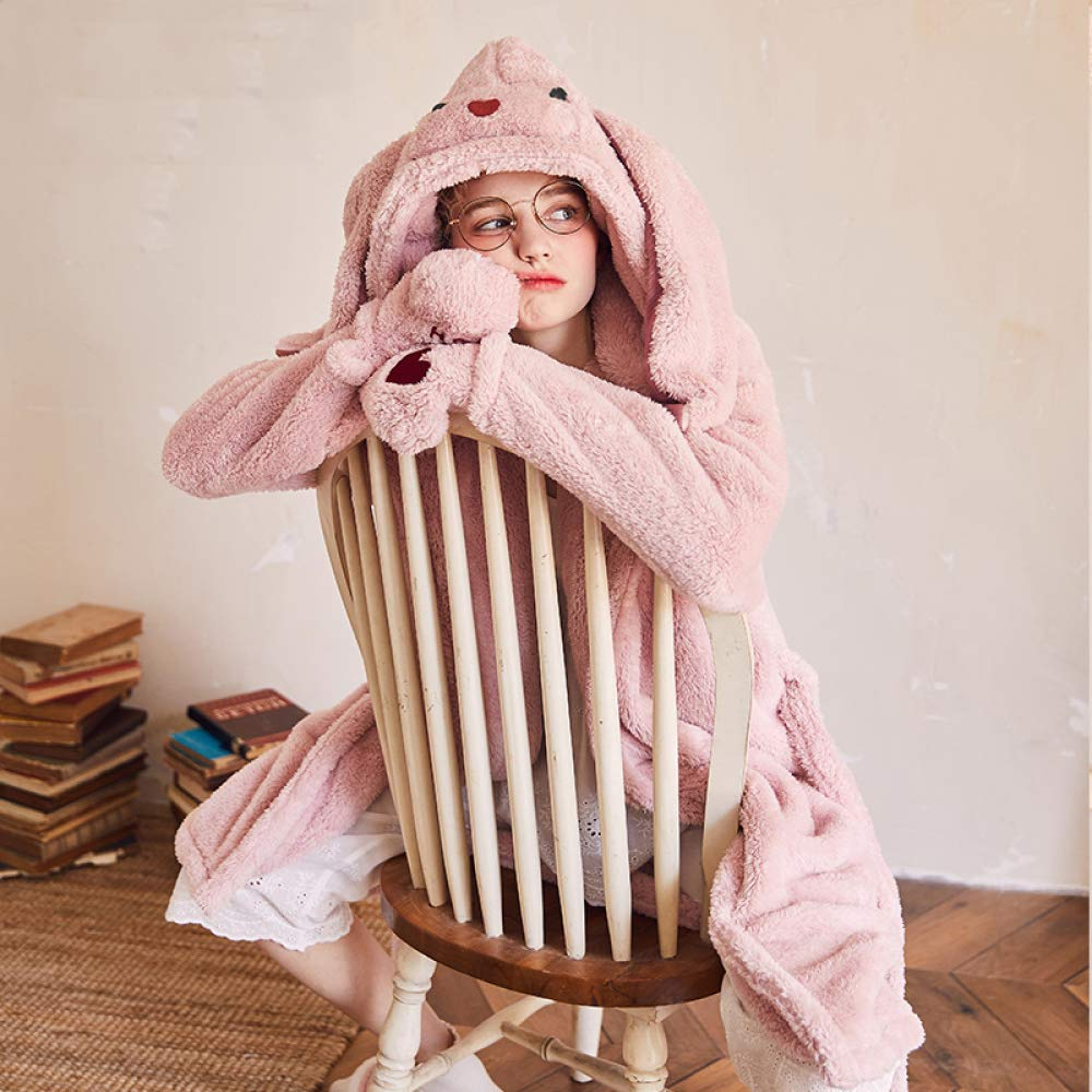 41beca0f4b Nightgown Ladies Winter Nightwear Pyjamas Set Sleepwear Loungewear Flannel  Coral Fleece Pink Rabbit Cartoon Thick