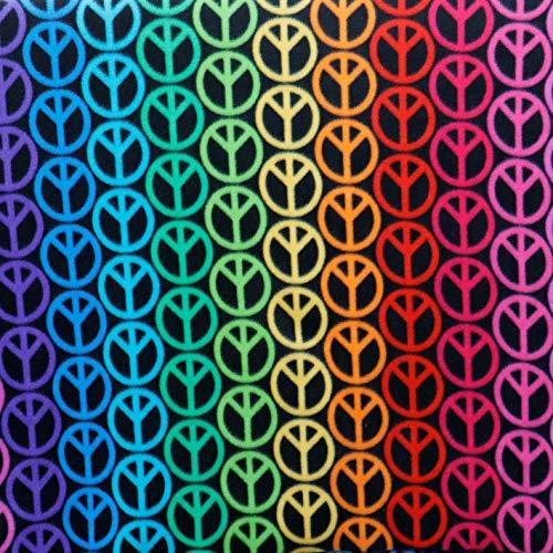 Peace Signs Bright Colors Fleece Fabric 2