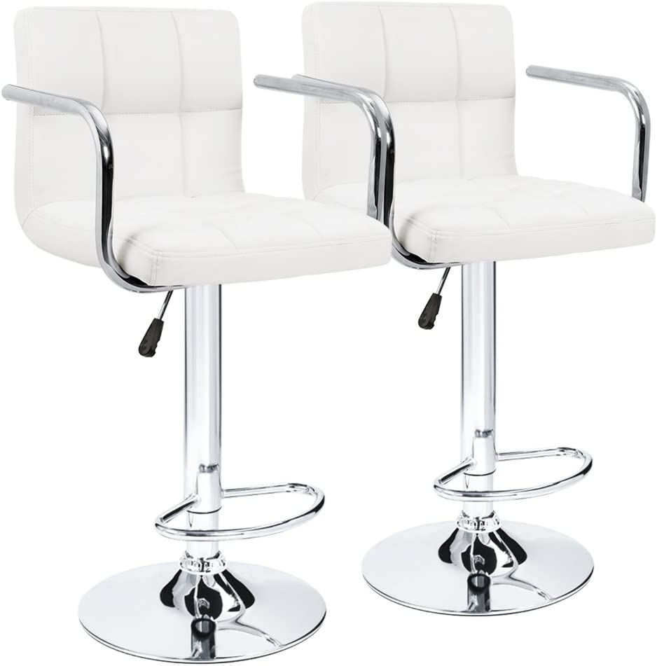 Furmax Leather Bar Stools with Armrest Counter Height Modern Adjustable Synthetic Leather Swivel Bar Stool White