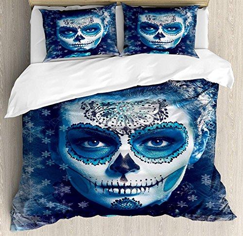 applebless Sugar Skull Decor Duvet Cover Set, Santa Muerte C