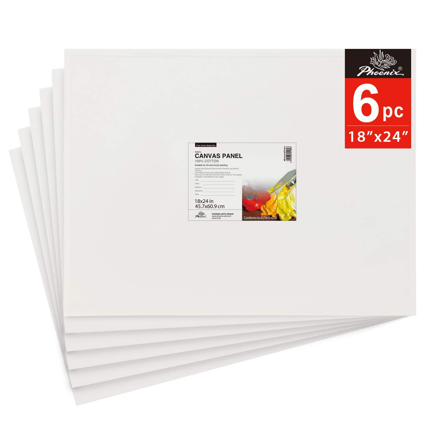 PHOENIX Painting Canvas Panel Boards - 18x24 Inch / 6 Pack - 1/7 Inch Deep Super Value Pack for Oil & Acrylic Paint by PHOENIX