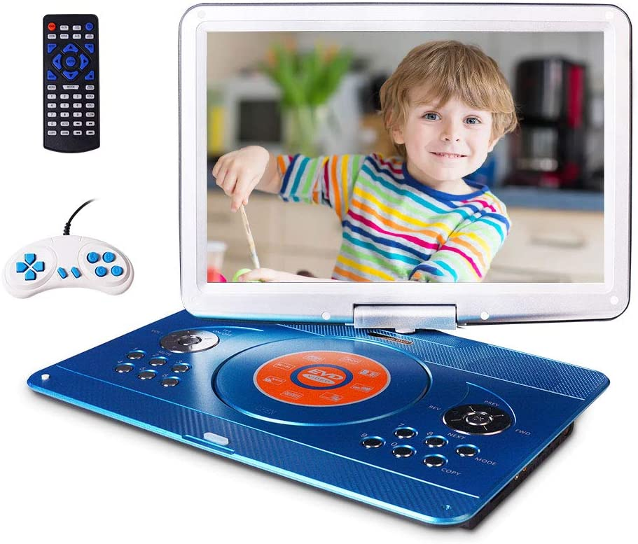 "16.9"" Portable DVD Player with 14.1"" Large Swivel Screen, Car DVD Player Portable with 5 Hrs Rechargeable Battery, Mobile DVD Player for Kids, Sync TV, Support USB SD Card with Car Charger (Blue)"
