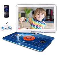 "16.9"" Portable DVD Player with 14.1"" Large Swivel Screen, Car DVD Player Portable with 5 Hrs Rechargeable Battery, Travel DVD Player for Car Kids, Sync TV, Support USB SD Card with Car Charger (Blue)"