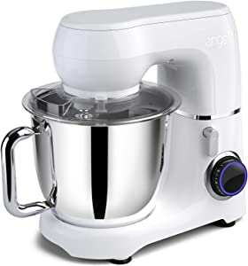 Mini angel Stand Mixer,10-Speed 5.5QT Kitchen Electric Mixer with DIY Color Stickers,Tilt-Head Food Mixer with Dough Hook, Wire Whisk, Flat Beater, Stainless Steel Bowl - White