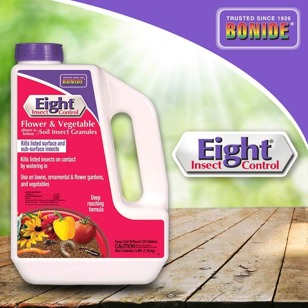 Bonide (BND788 - Eight Insect Control Flower & Vegetable Above & Below Soil Insect Granules, Outdoor Insecticide/Pesticide Granules (3 lb.)