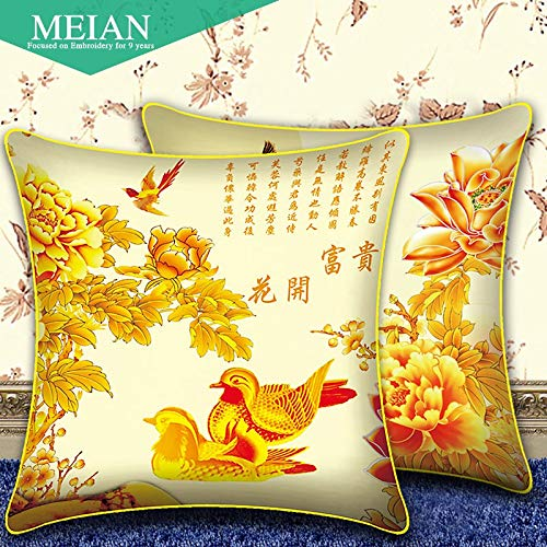 (Cross Stitch -, Print Cross Stitch 3D Cross Stitch Pillow A Pair of New Wedding Flowers Rich Yuanyang Cross Stitch Room)