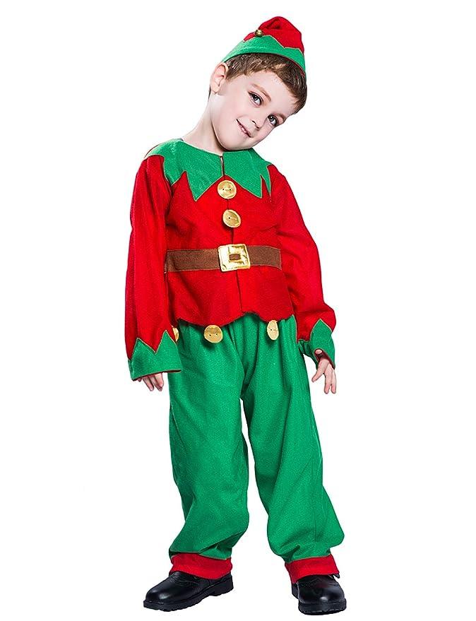 Amazon.com: Disfraz de elfo de Papá Noel de Navidad, traje ...