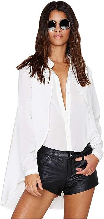 YuanDian Mujer Manga Larga Sólida Camisera Casual Blanca Blusa Delgada Sexy Blusas De Verano: Amazon.es: Ropa y accesorios