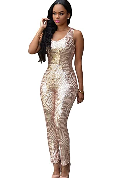 b20fd4885bf7 Amazon.com  O W Champagne Geometric Sequin Jumpsuit  Clothing