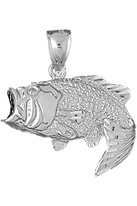 Jewels Obsession 3D Fish Bones Pendant Sterling Silver 925 3D Fish Bones Pendant 33 mm