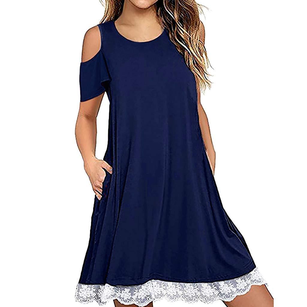 Hattfart Women's Summer Short Sleeve Cold Shouler Lace Hem T-Shirt Loose Dress with Pockets (M, Blue)