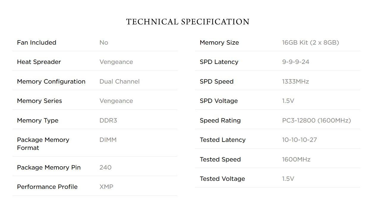 Corsair CMZ16GX3M2A1600C10 Vengeance 16GB (2x8GB) DDR3 1600 MHz (PC3 12800) Desktop Memory 1.5V
