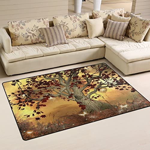 WOZO Fantasy Tree Butterfly Glitter Area Rug Rugs Non-Slip Floor Mat Doormats Living Dining Room Bedroom Dorm 60 x 39 inches inches Home Decor