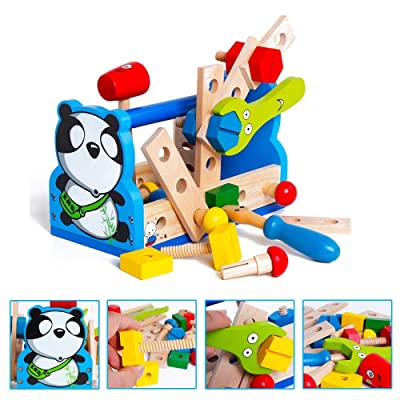 Lvxiuxiu New Children's Puzzle Development Brain Montessori Wooden Pretend Panda Repair Repair Tool Toy Repair Learning Education Preschool Training: Toys & Games