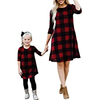 Qin.Orianna Mommy and Me 3 4 Sleeve Plaid Checked Family Matching Tunic Dress with Pocket for Christmas Photograph