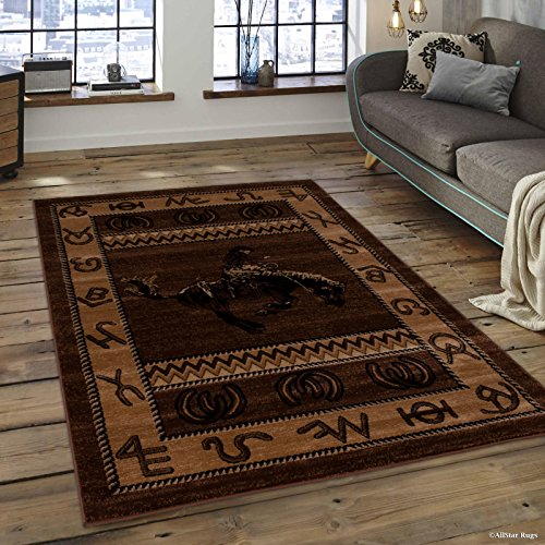 Lodge Western Rug - Allstar 8x10 Mocha Cabin Rectangular Accent Rug with Chocolate and Espresso Wildlife Riding Cowboy Design (7' 6