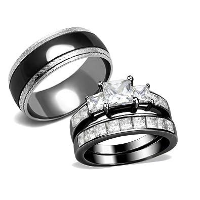 Amazon.com: Lanyjewelry - Anillos de pareja para mujer, 3 ...