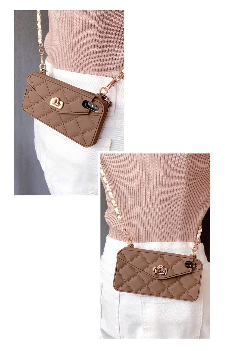 White, iPhone 6 Plus // 6s Plus UnnFiko Wallet Case Compatible/with iPhone 6 Plus//iPhone 6s Plus Pretty Luxury Bag Design Purse Flip Card Pouch Cover Soft Silicone Case with Long Shoulder Strap