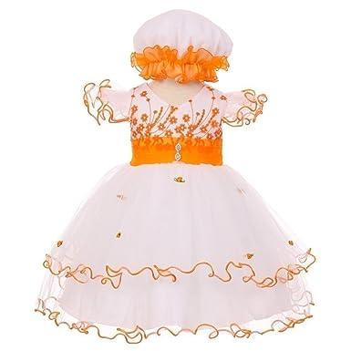 95422c9f8d39 Baby Girls Orange Floral Embroidery Jeweled Ruffles Bonnet Flower Girl Dress  3M