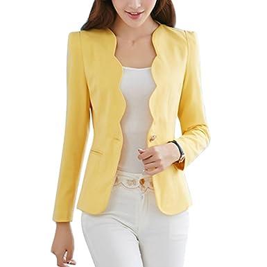 4ef5cc78187e8 laamei Femmes Chic Vestes de Tailleur Blazer Bureau Business Jacket Manche  Longue Slim Élégant Petite Costume