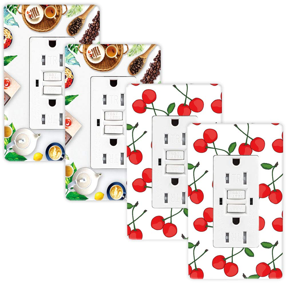 GFCI Receptacle Outlet, SZICT UL-listed DIY Art Wall Plate 15A Dual Indicator Self Test GFCI Tamper Resistant Outlet, Screwless Art Fruit GFCI Outlet for Ground Fault Circuit Interrupter 4 Pack