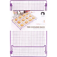Cool The Cake Down | Food Grade Non-Stick 17x11 inches Steel Multi-Tier Grid Wire Cooling Rack for Baking, Good for Cake, Cookie, Bread, Other Baked Food, Stable Legs, Oven Safe, Purple