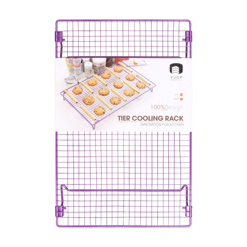 Cool The Cake Down | Food Grade Non-Stick 17 x 11 Steel Multipurpose Tier Cooling Wire Rack to Perfectly Cool the Cake on All Sides, Super Stable with 2 Legs, Oven Safe, Vibrant Purple