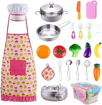 GOLDGE 24 PCS Niños Juguetes de Cocina Acero Inoxidable ...