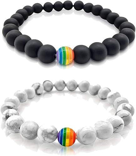DecoArte LGBT - Pulsera de Larga Distancia para Parejas, diseño de Bandera de arcoíris: Amazon.es: Joyería