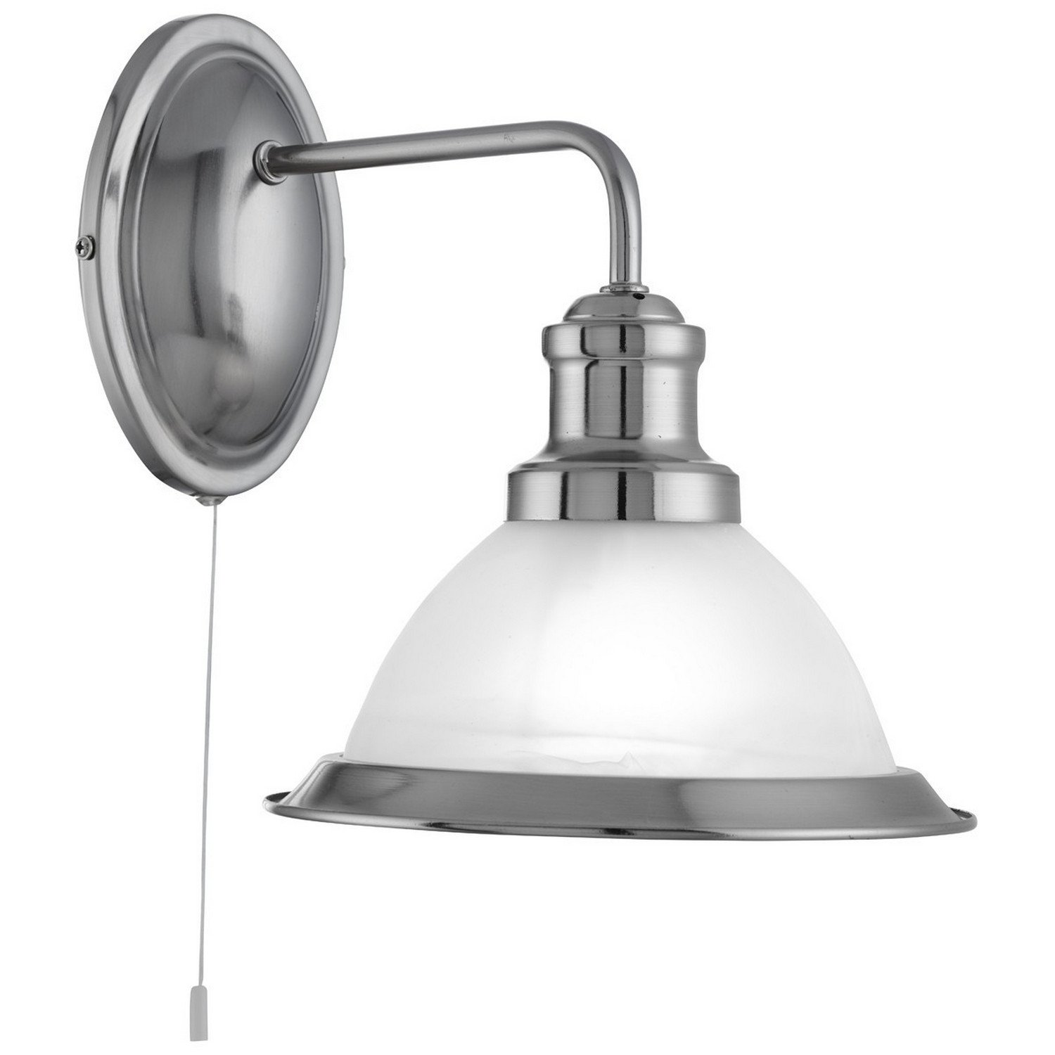 Searchlight Bistro Single Wall Light (satin silver, marble glass, 1481SS)