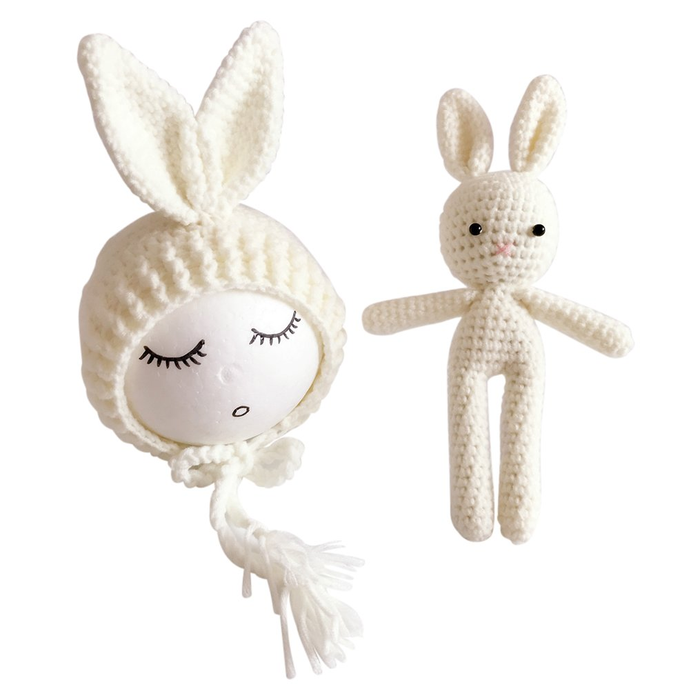 Yeahibaby Newborn Photography Photo Prop Crochet Knitted Toy Rabbit Bunny Hats for Baby Boys Girls (Grey)