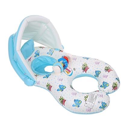 decdeal mamá y bebé anillo de natación, piscina flotador barco Rider con extraíble parasol Shade