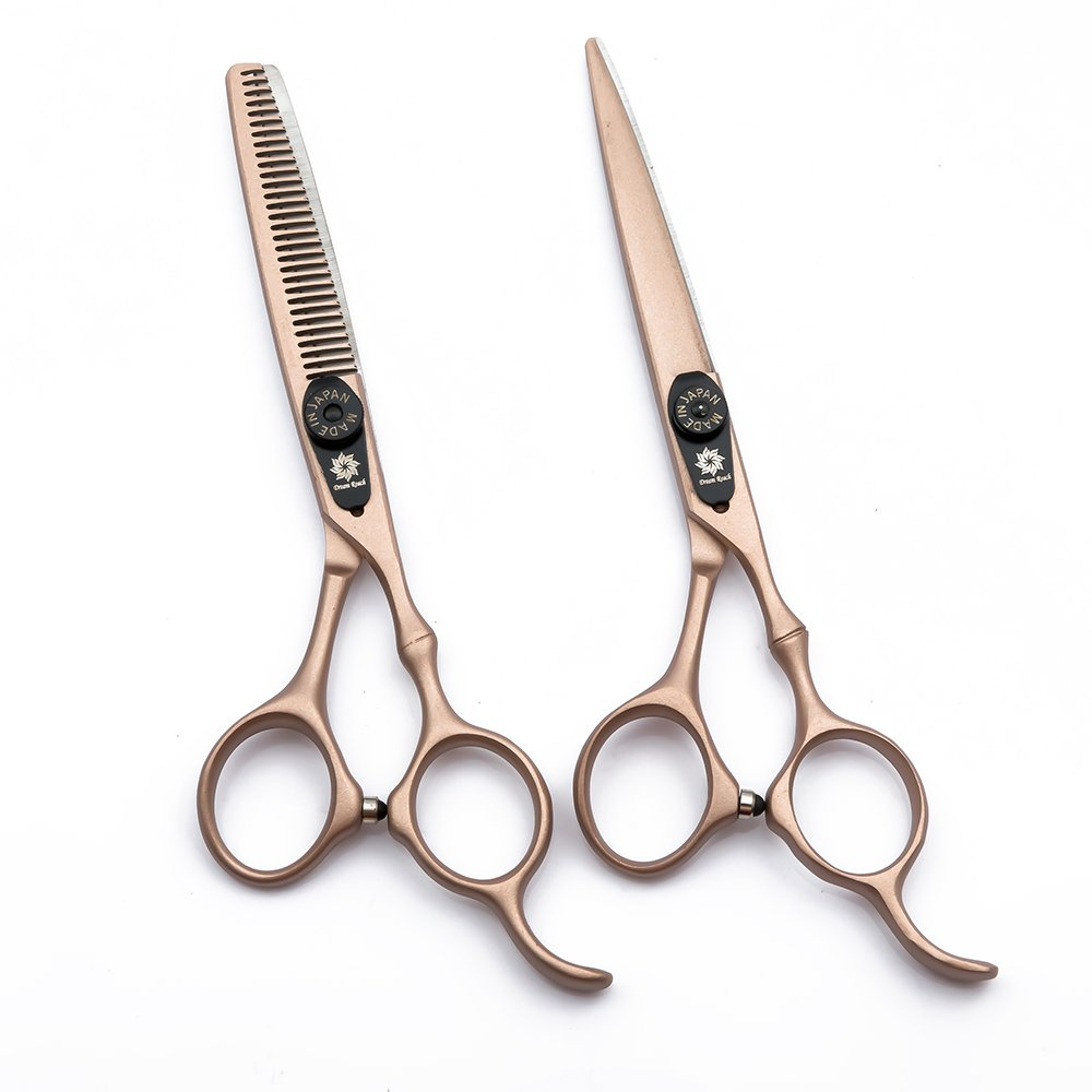 Professional Hair Cutting Scissors Barber Scissors Kit Hair Thinning Shears Set -Japanese 440C Stainless Steel Hairdressing Scissors 6 inch with Fine Adjustment Screw-Dream Reach (Rose Gold) by Dream Reach