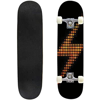 Classic Concave Skateboard Dot Lightning icon Bright Pictogram in fire Orange Color hues on a Longboard Maple Deck Extreme Sports and Outdoors Double Kick Trick for Beginners and Professionals : Sports & Outdoors
