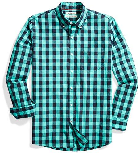 Goodthreads Men's Standard-Fit Long-Sleeve Gingham Plaid Poplin Shirt, Teal/Navy, Medium