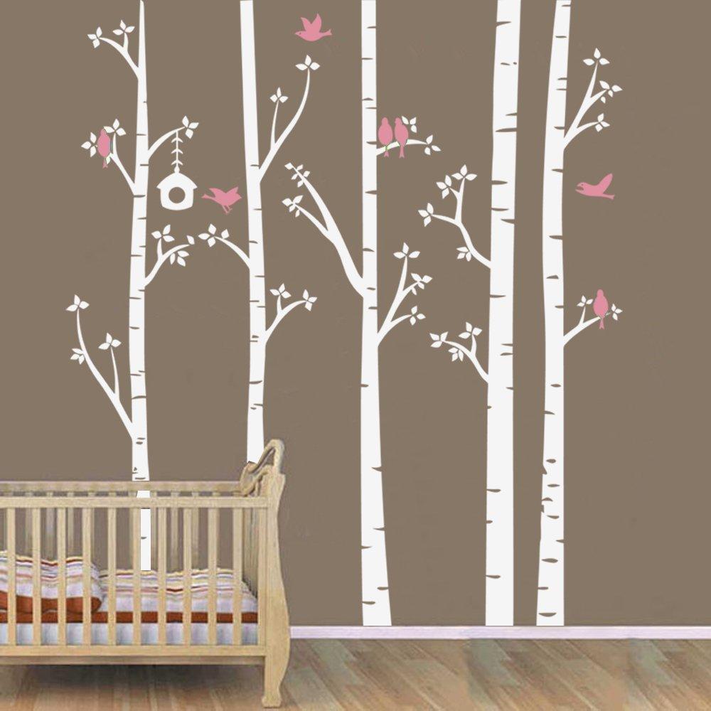 Birch tree Wall Decals Wall Stickers Tree Decal Kids Baby Nursery Livingroom Bedroom Art - Birds in Birch Forest(7 feet, white + soft pink) by ppty